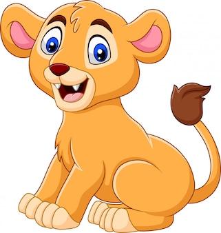 Мультяшный ребенок львица на белом фоне