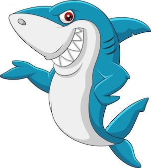 手を振っている漫画サメ