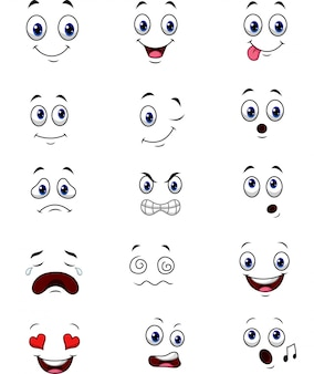 Набор сбора выражений лица мультфильм