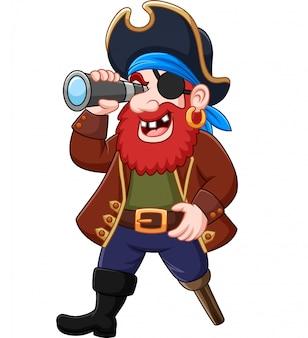 Мультяшный пират смотрит в бинокль
