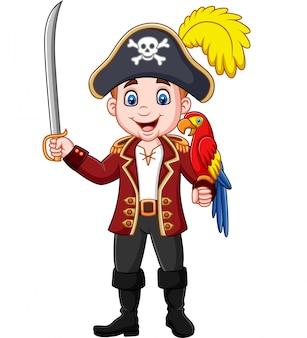 Мультяшный пиратский капитан держит меч с птицей ара