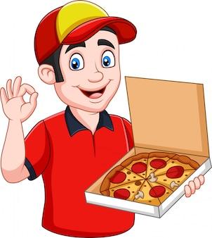 Доставщик пиццы держит вкусную горячую пиццу