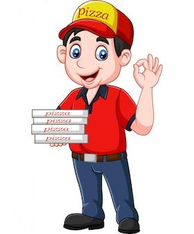 Доставщик пиццы показывает знак ок