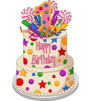 白地にカラフルな誕生日ケーキ