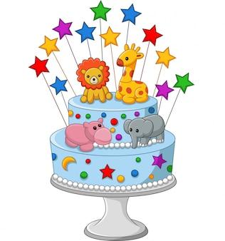 カラフルな誕生日ケーキ