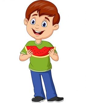 Мультяшный мальчик ест ломтик арбуза