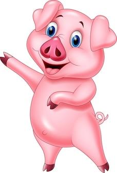 かわいい豚は、白い背景に表示される