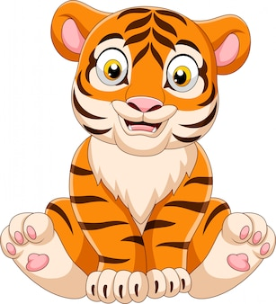Мультяшный тигренок сидит