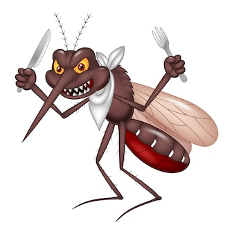 食べる準備ができている漫画の蚊