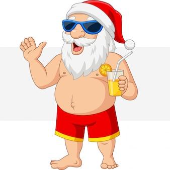 カクテルを振って漫画サンタクロース