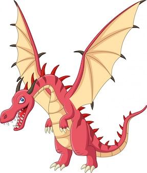 白い背景の上の漫画の赤いドラゴン
