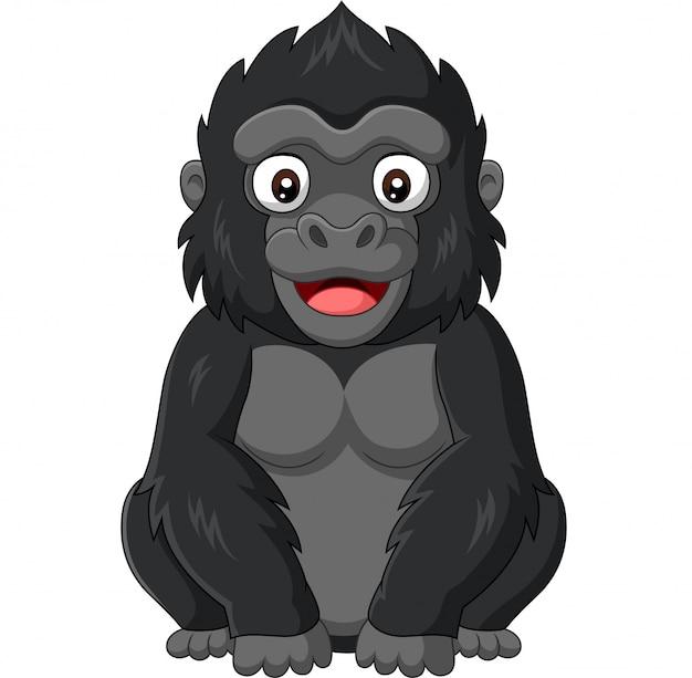 Мультяшный малыш гориллы на белом фоне