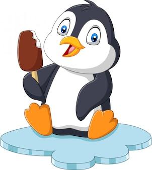 Мультяшный пингвин держит шоколадное мороженое