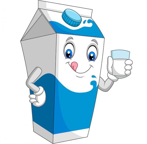 Мультяшный молочный ящик держит стакан молока