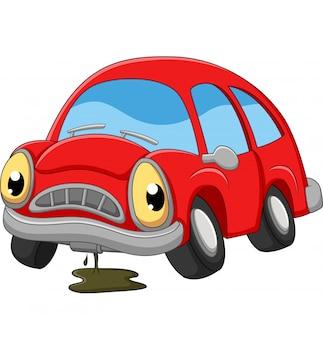 Мультяшный красный автомобиль грустный нуждается в ремонте