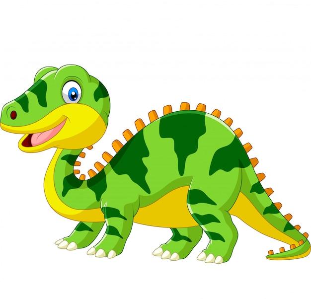 Мультфильм милый зеленый динозавр на белом