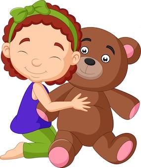 テディベアを抱いて漫画少女