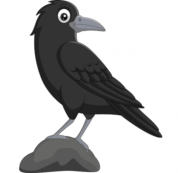 Мультяшный ворона стоит в камне на белом