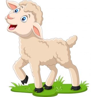 草の上の漫画幸せな子羊