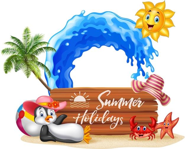 Летний праздник с деревянным знаком и забавными животными