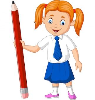 鉛筆を保持している漫画の学校の女の子