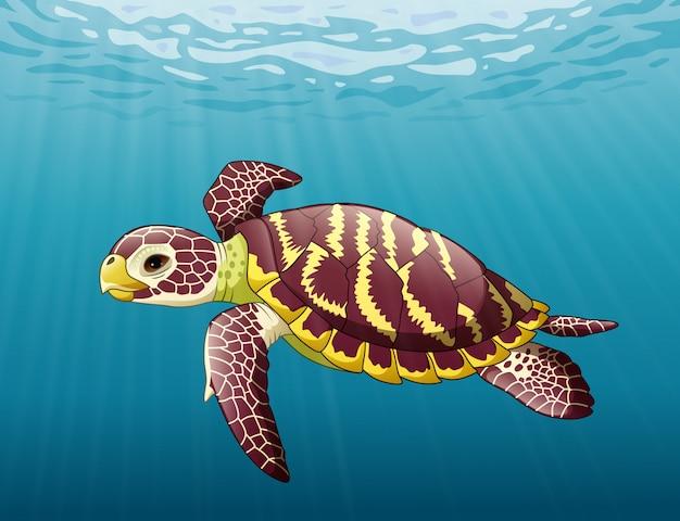 海で泳いでいる漫画ウミガメ