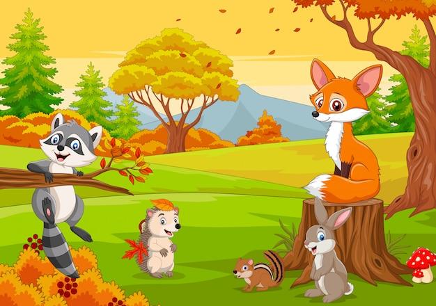 秋の森の漫画の野生動物