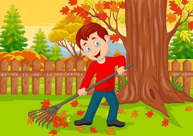 Мультяшный мужской уборщик подметает осенние листья с граблями