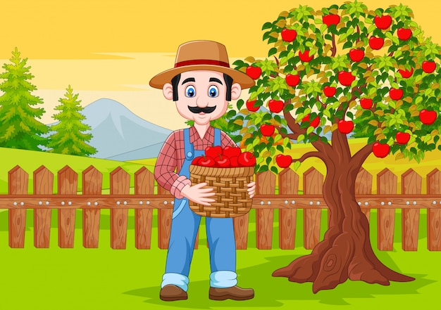Мультяшный мужской фермер держит яблочную корзину на ферме