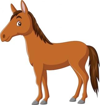 白い背景の上の漫画幸せな馬