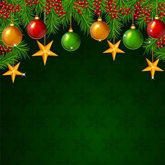 モミの枝と星とボールのクリスマスの背景