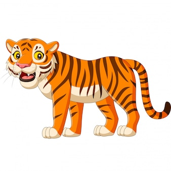 Мультяшный тигр на белом