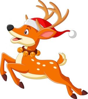 サンタの帽子のジャンプで漫画鹿