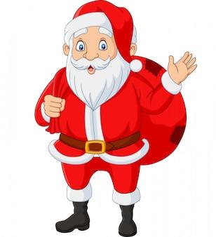 Санта клаус, несущий сумку подарков, махающих