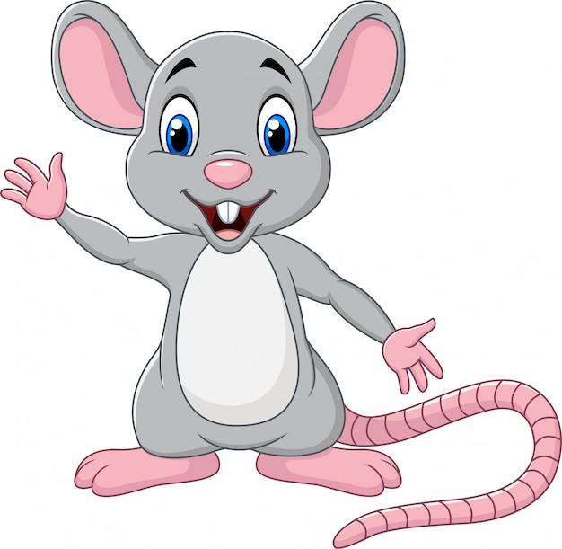 手を振ってかわいいマウス漫画
