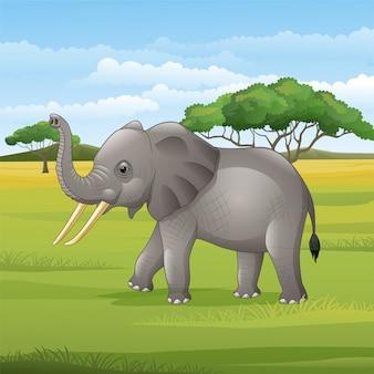 Мультяшный слон стоит в саванне