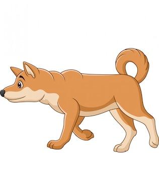 白い背景の上を歩く漫画犬