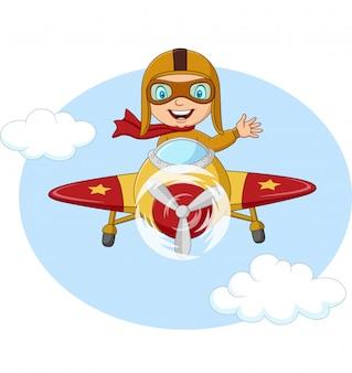 漫画の飛行機の操作の小さな男の子