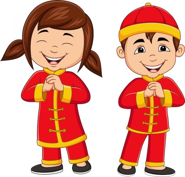 中国の伝統的な衣装を着て漫画中国の子供たち
