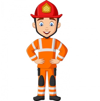 Мультяшный смешной мужской пожарный позирует
