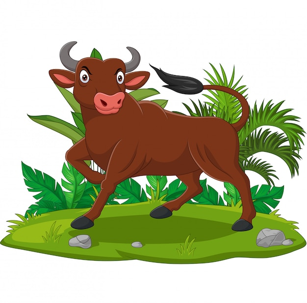 Мультфильм злой бык в траве