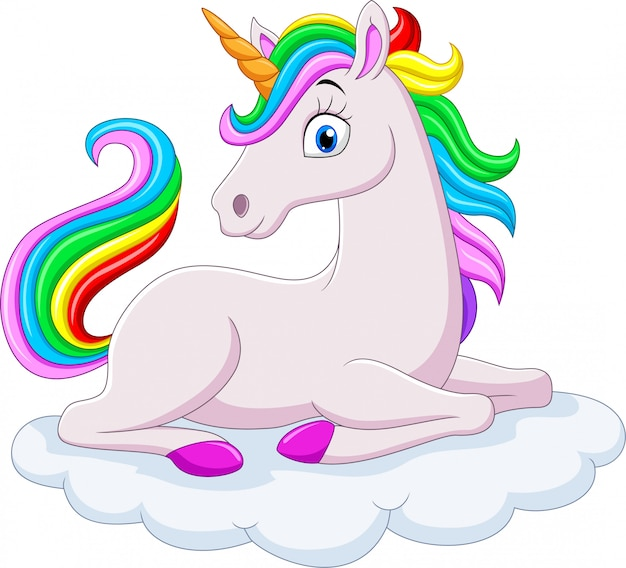 雲の上の漫画虹ユニコーン