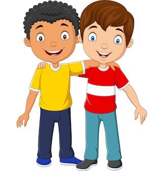 Мультяшный смешной два маленьких мальчика обнимаются