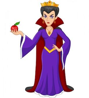 Мультяшная королева держит яблоко