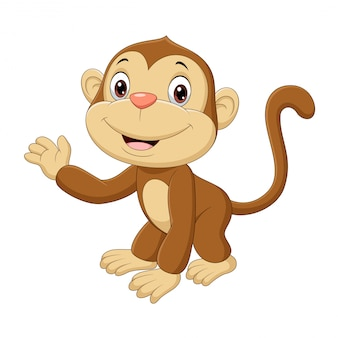 手を振ってかわいい赤ちゃん猿