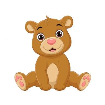 Мультфильм милый ребенок сидит медведь