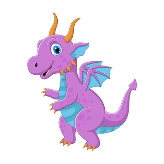 Мультяшный фиолетовый дракон на белом