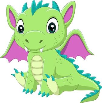 Мультяшный малыш сидит зеленый дракон
