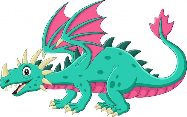 Мультяшный зеленый дракон на белом