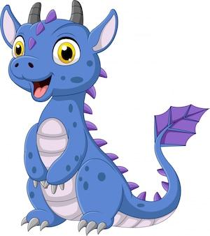 Мультяшный синий дракон на белом